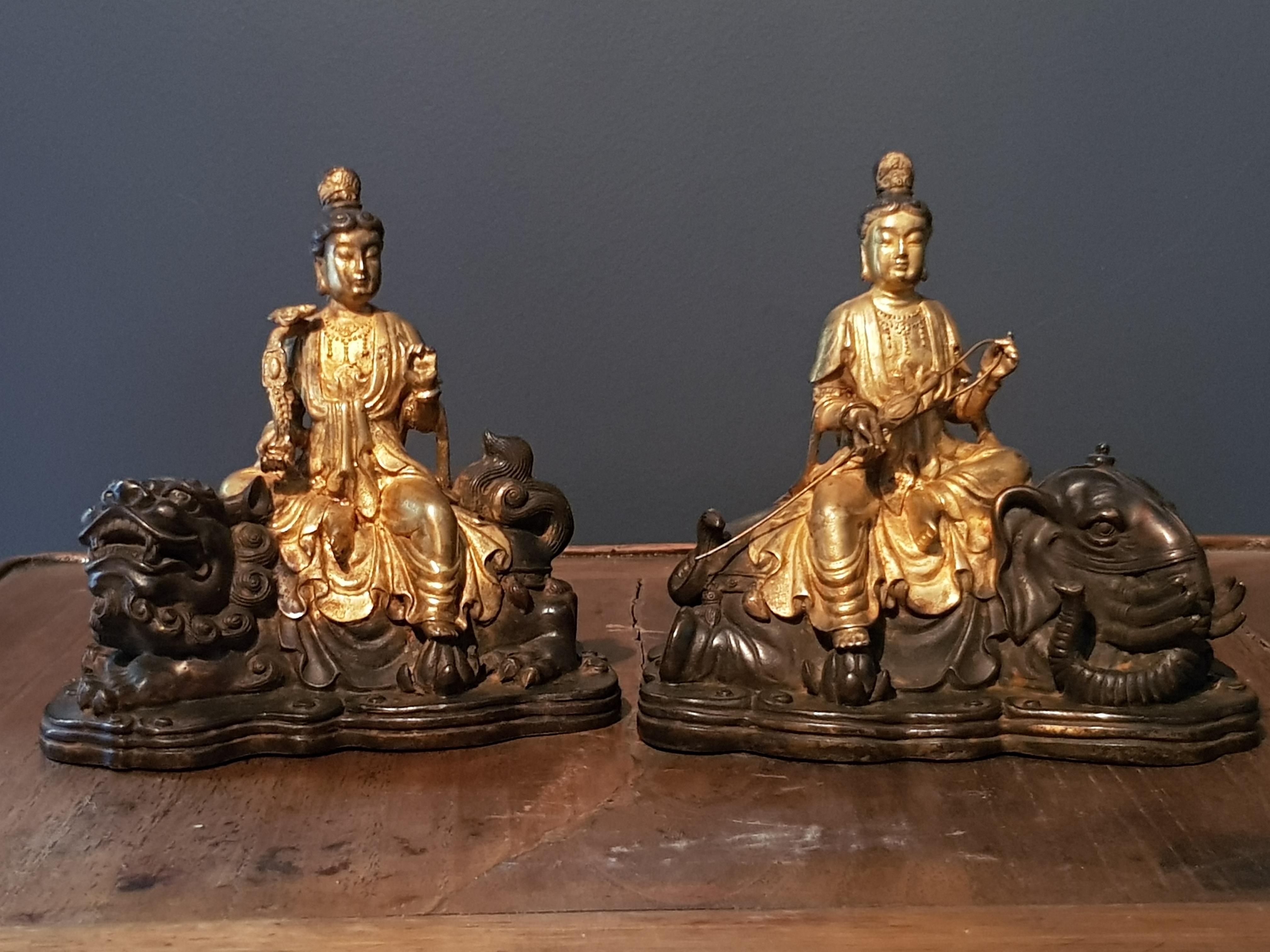 Paire de statuettes Guanyin - Chine - Vendu Image