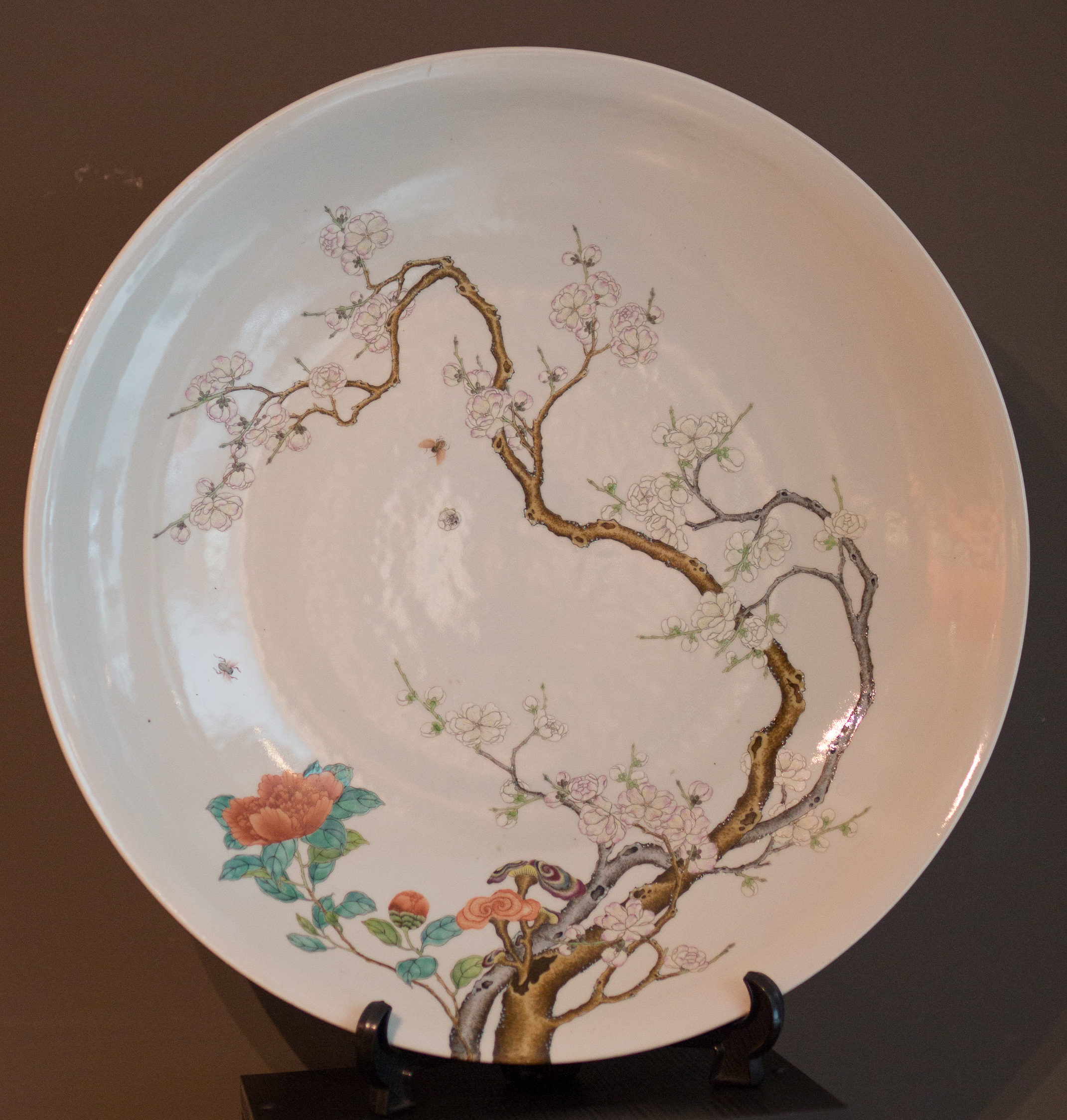 A Large Dish Famille Rose-Decorated Finely Painted With Flowering Prunus And Cherry Branches Beside Bamboo And Lingzhi, YONGZHENG Mark - SOLD Image