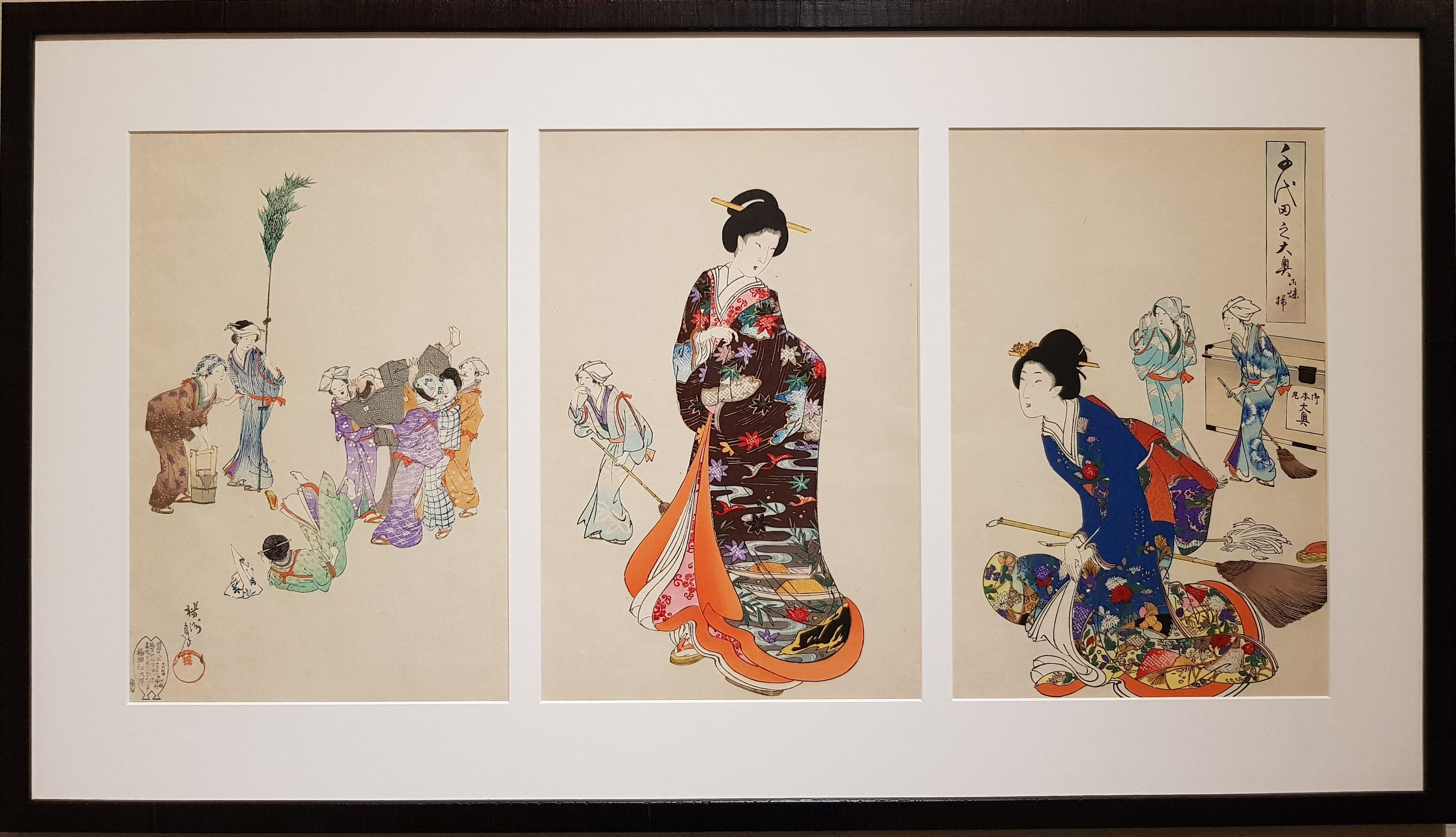 Japon - Estampe Triptyque Chikanobu - Chiyoda no O-oku - O-susuharai - 19ème - VENDU Image