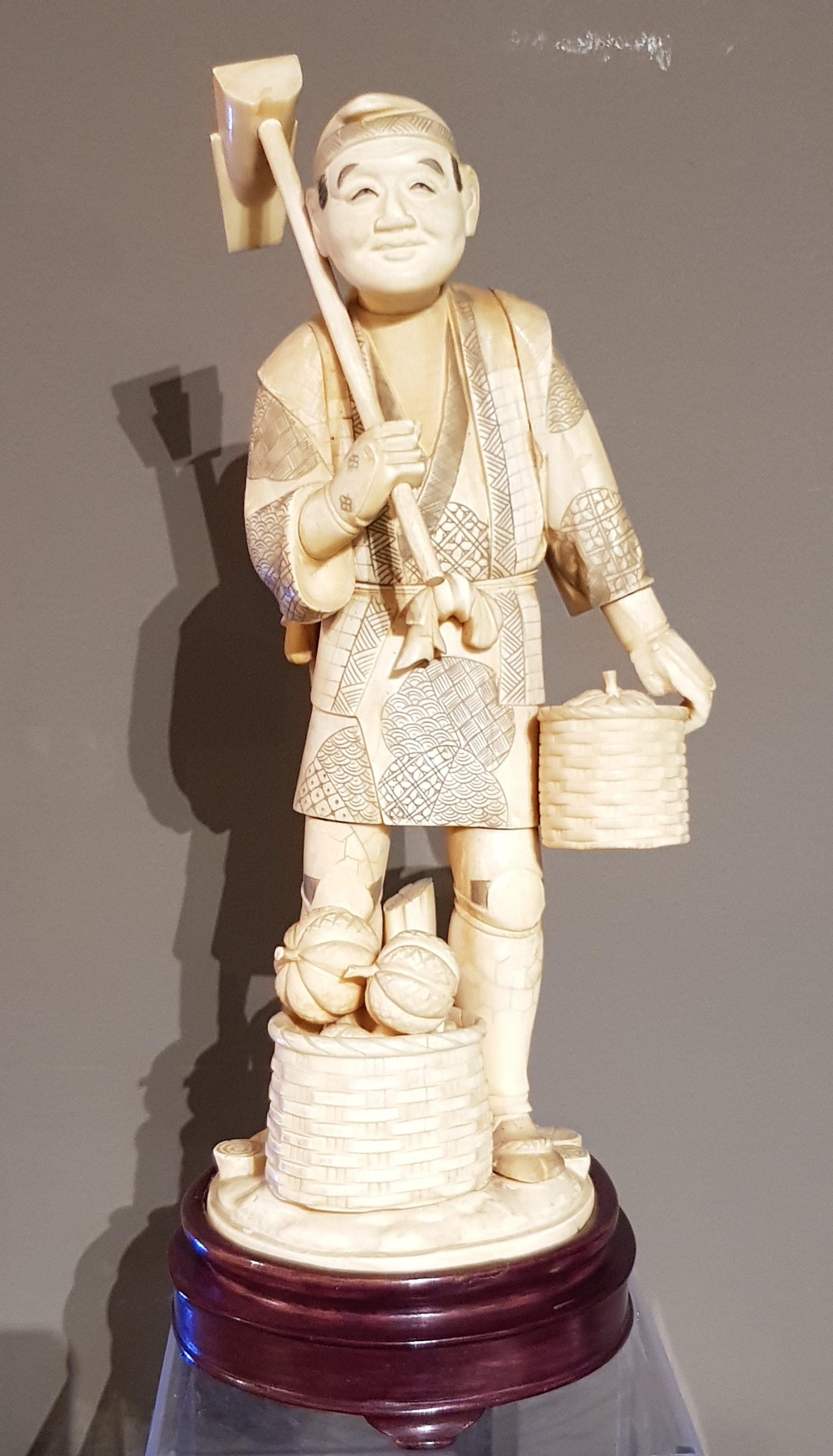 Okimono en Ivoire - Le maraîcher - Meiji - 19ème. Image