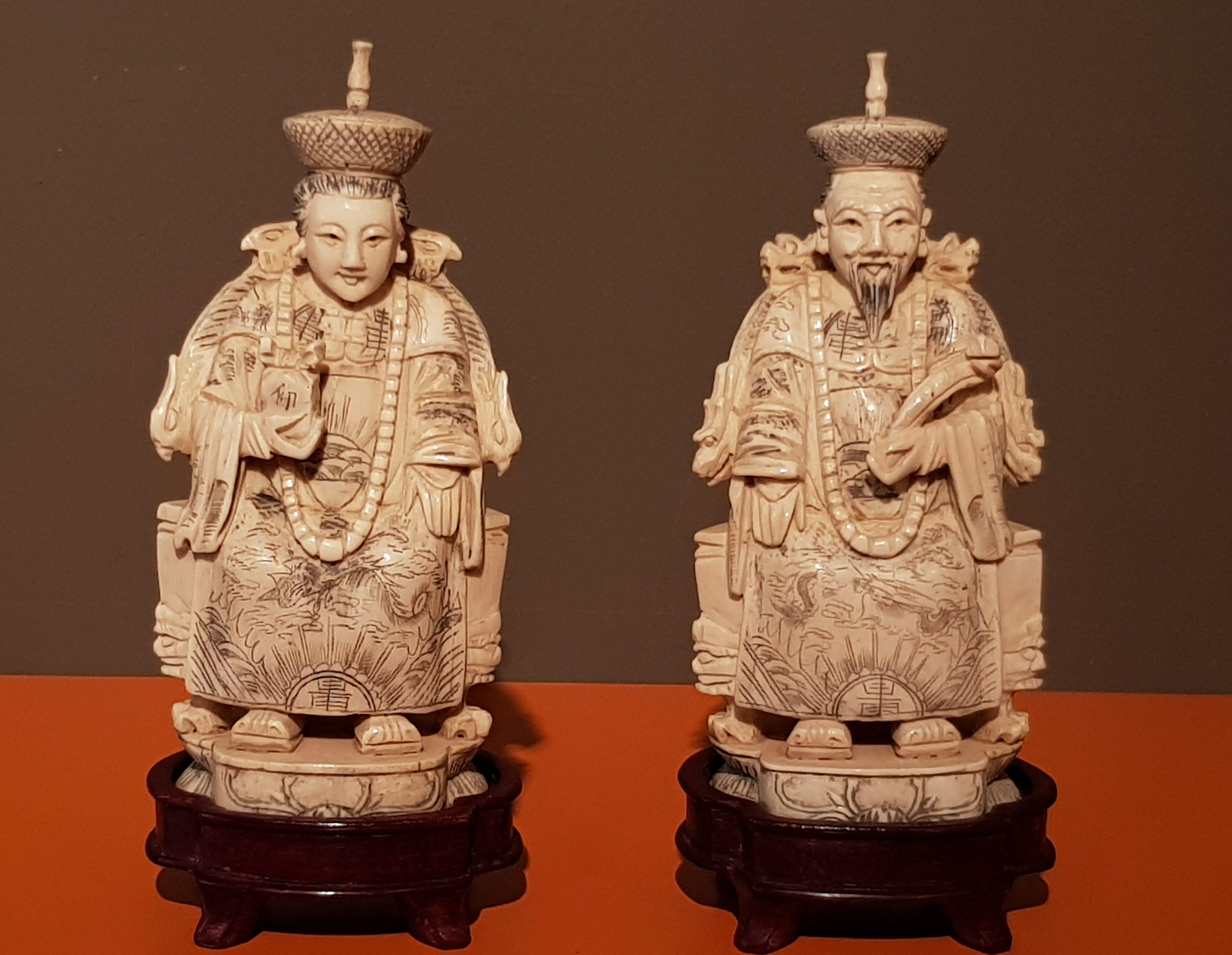 Okimono en Ivoire - Couple Impérial - Chine - 19ème. Image