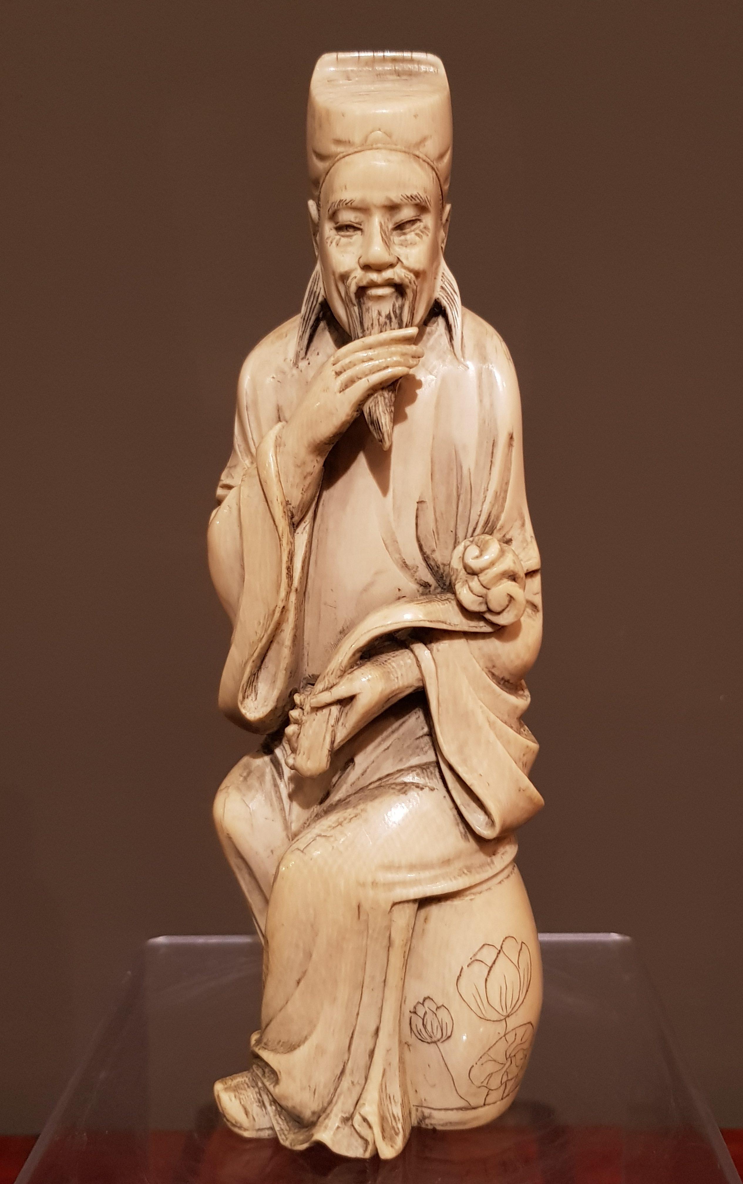Okimono en Ivoire - Mandarin assis - Chine - Début 19ème. Image